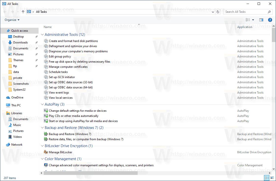 Windows 10 All Tasks God Mode Folder