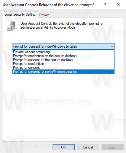 Windows 10 Change UAC Behavior For Administrators