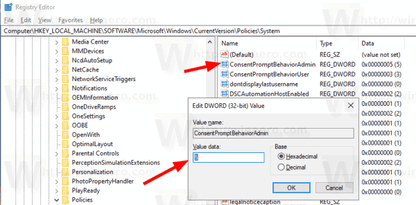 Windows 10 Change UAC Behavior For Admins Tweak