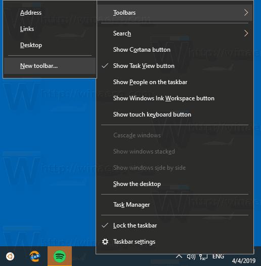 Windows 10 Create A New Toolbar