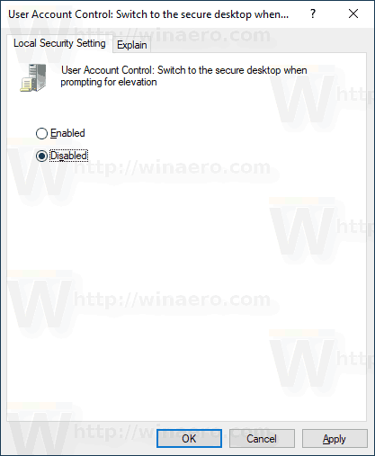 Windows 10 Disable UAC Secure Desktop