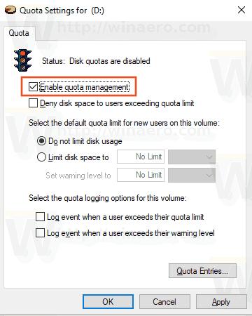 Windows 10 Drive Quota 2