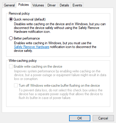 Windows 10 Drive Removal Policy