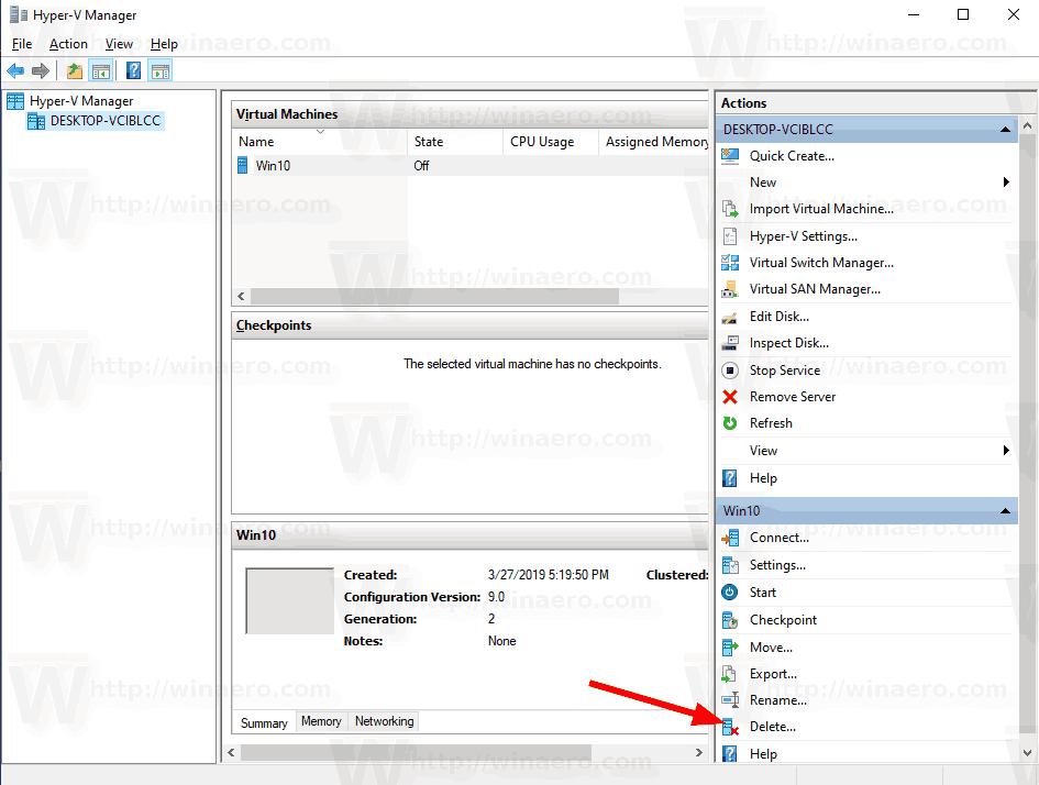 Delete Hyper-V Virtual Machine in Windows 10