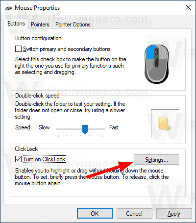 Windows 10 Mouse ClickLock Settings Buttons