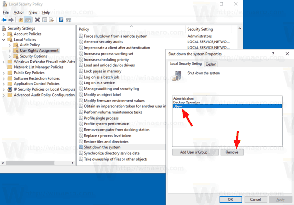 Allow or Prevent Users or Groups to Shut Down Windows 10