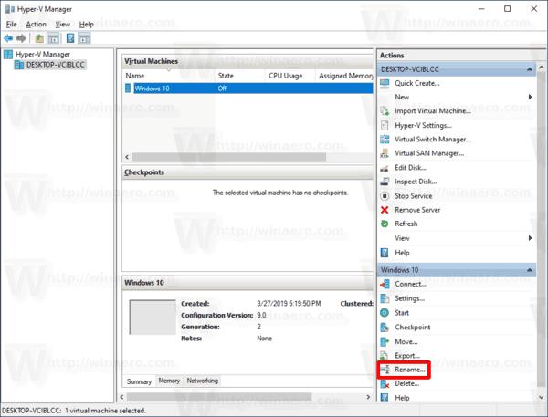 Windows 10 Rename Hyper V VM 1