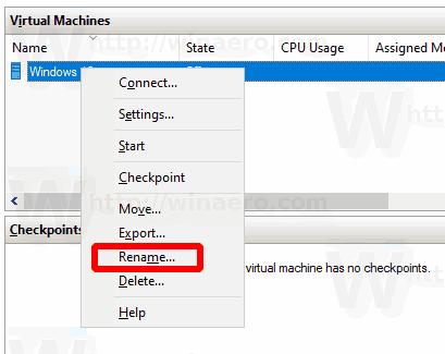 Windows 10 Rename Hyper V VM 2