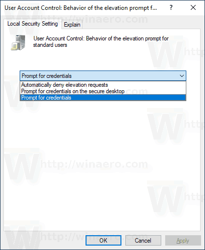 Windows 10 UAC Prompt Behavior For Standard Users Policy Options