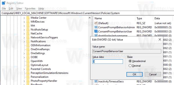 Windows 10 UAC Prompt Behavior For Standard Users Tweak