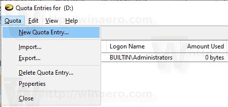 Windows 10 User Quota 1