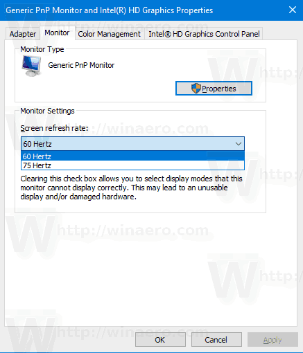 Change Display Refresh Rate in Windows 10