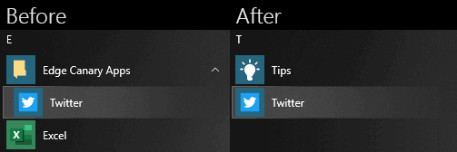 Edge PWAs In The Root Folder Start Menu