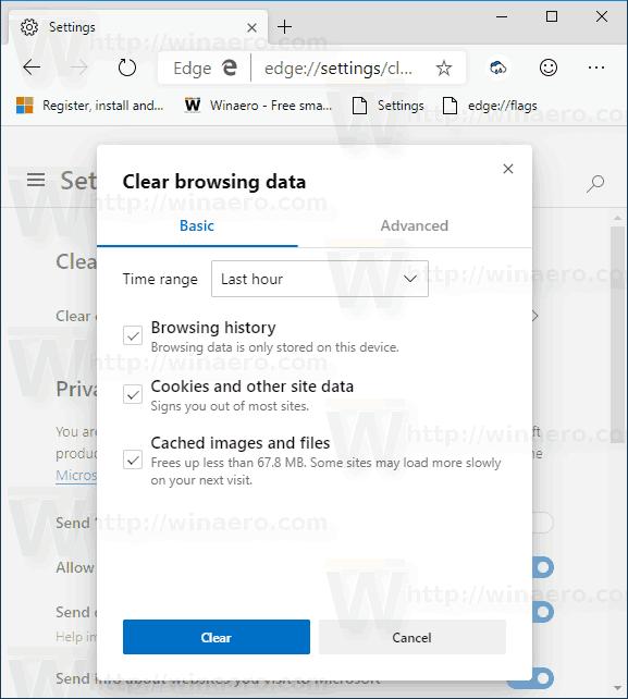 Microsoft Edge Chromium Classic Clear Browsing Data
