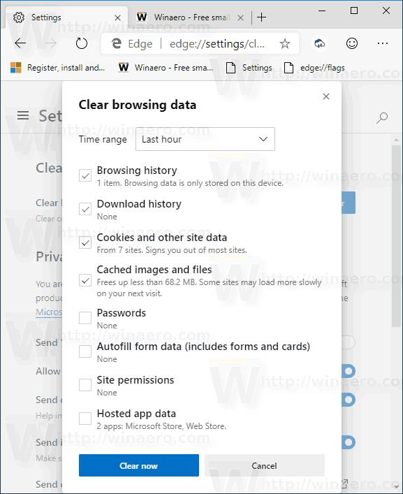 Microsoft Edge Chromium New Clear Browsing Data