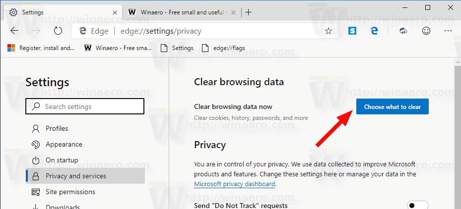 Microsoft Edge Chromium Open Clear Browsing Data