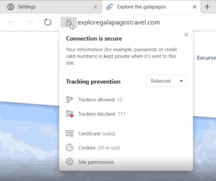 Microsoft Edge IE Privacy Dashboard 2