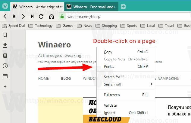 Vivaldi Enable Double Click Context Menu In Action