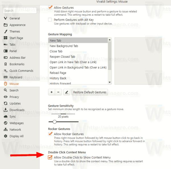 Vivaldi Enable Double Click Context Menu Settings