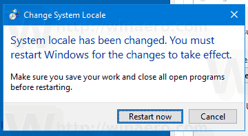 Windows 10 Change System Locale Restart