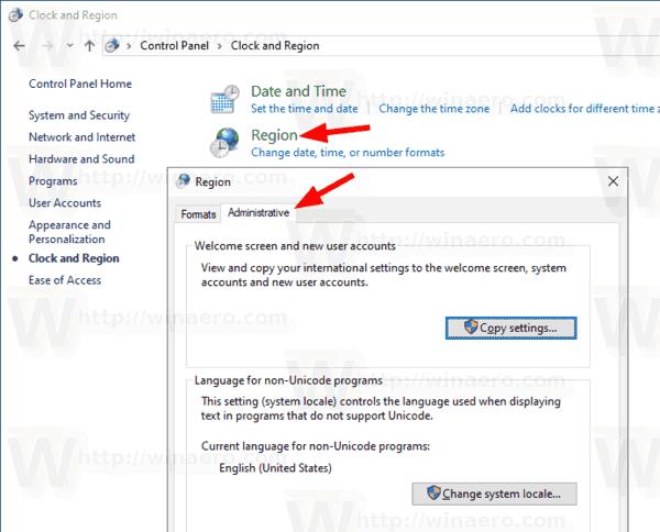 Windows 10 Current Locale Control Panel