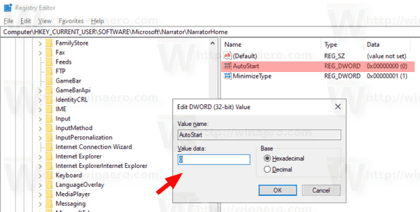 Disable Narrator Home in Windows 10