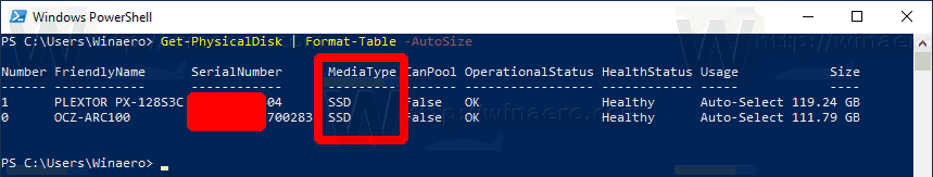 Windows 10 Find HDD Or SSD With PowerShell