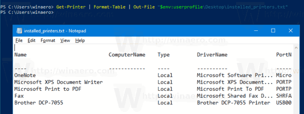 Windows 10 List Installed Printers PowerShell To File