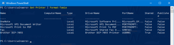 Windows 10 List Installed Printers PowerShell
