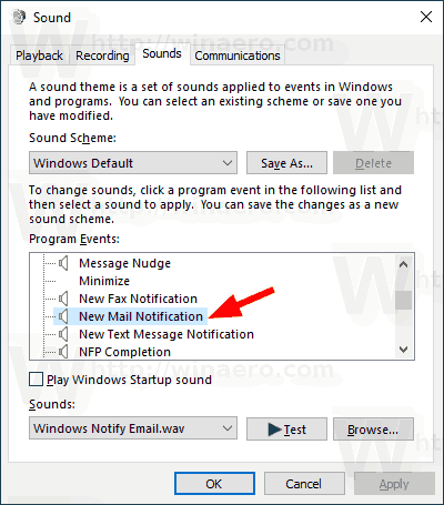 Windows 10 Mail Notification Sound Dialog