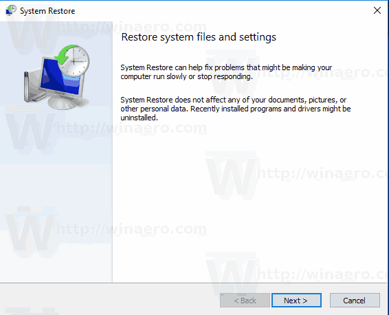 Windows 10 Start System Restore Rstrui