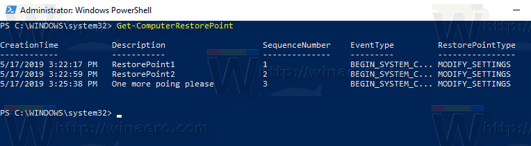 Windows 10 System Restore Points In PowerShell