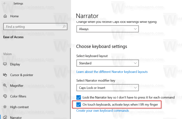 Activate Keys On Touch Keyboard When Lift Finger In Windows 10 Narrator