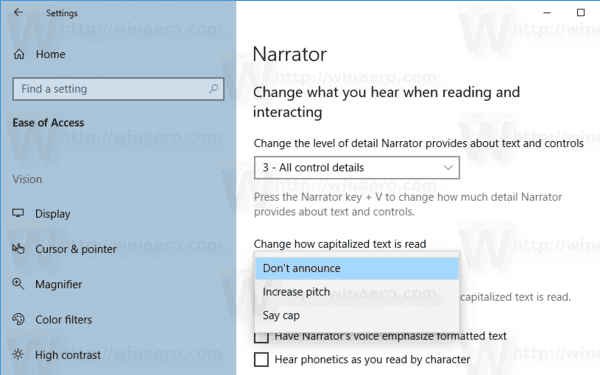 Change How Narrator Reads Capitalized Text Windows 10