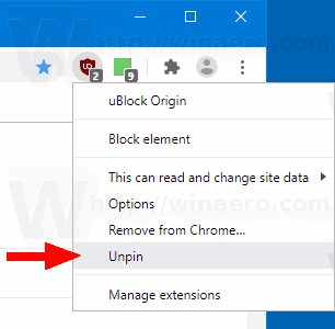Chrome Unpin Extension Button