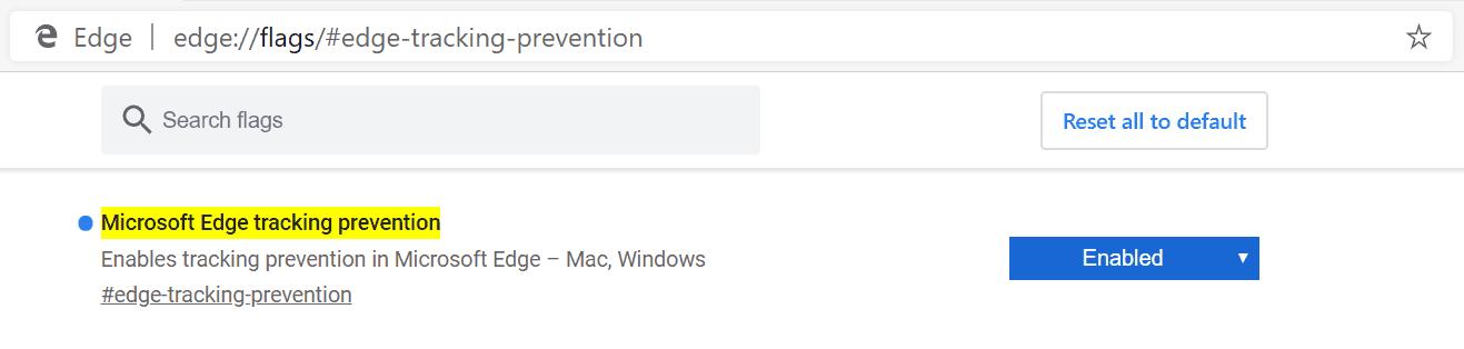 Edge Tracking Prevention Flag