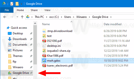 Add Google Drive to File Explorer Navigation Pane in Windows 10