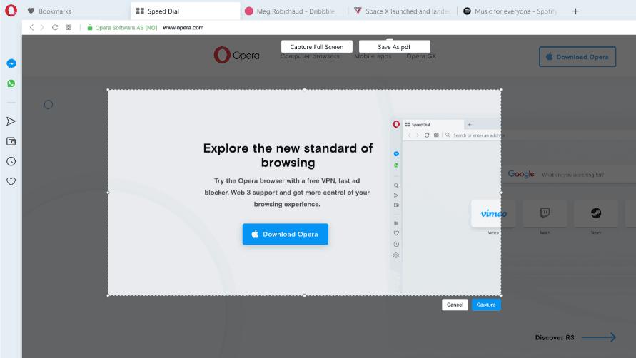 Opera 63 Snapshot Feature Improvements