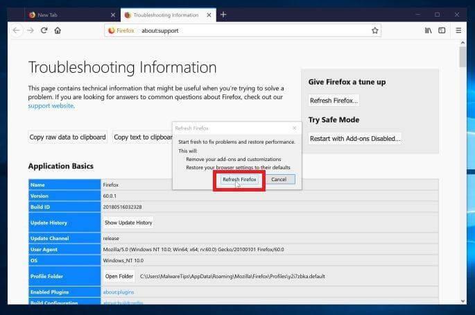 Refresh Firefox Refresh Firefox Confirmation