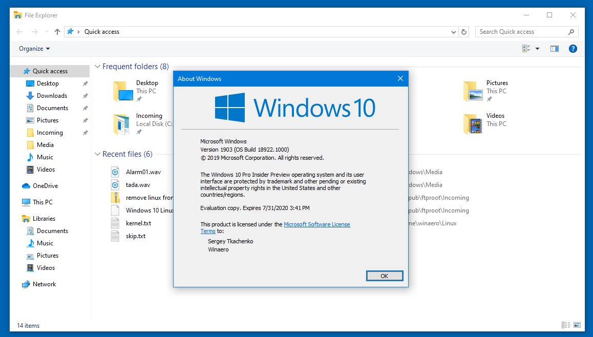 Ribbon Disabled In Windows 10 Version 1903
