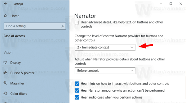 Windows 10 Change Narrator Context Level 1
