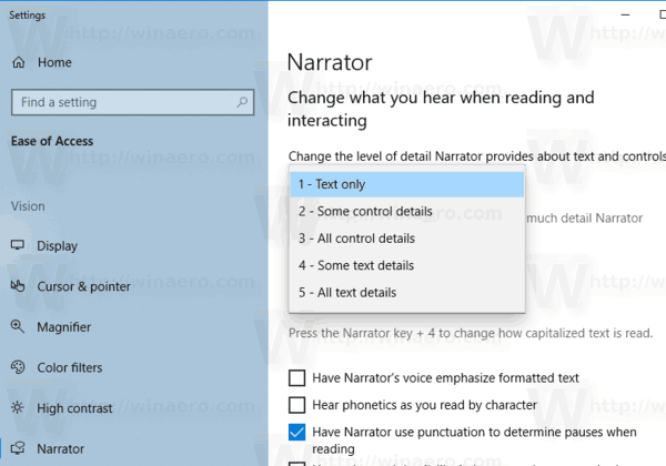 Windows 10 Change Narrator Verbosity Level