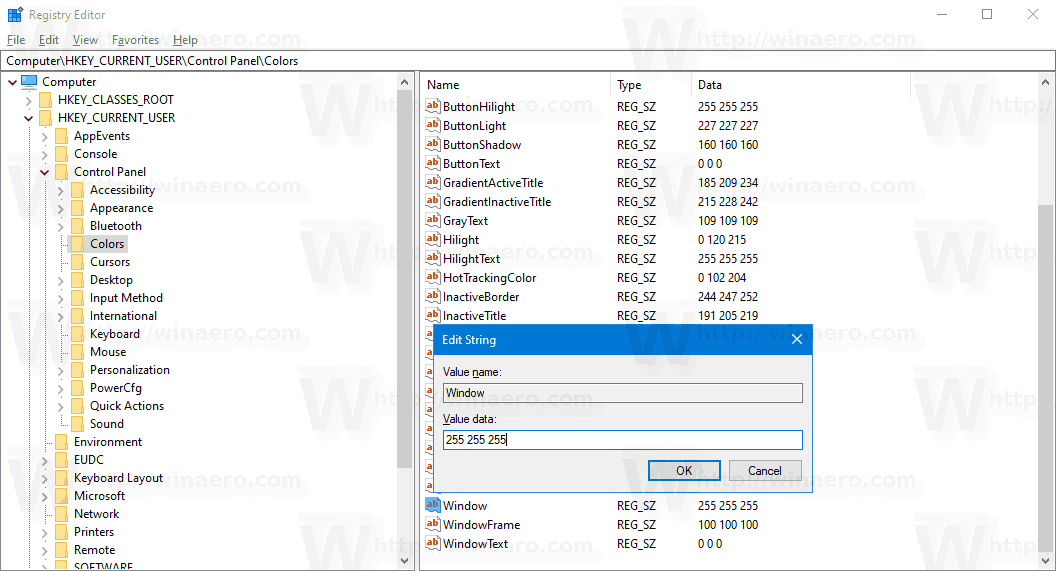 Windows 10 Change Window Background Color