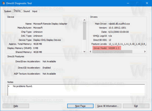 Windows 10 Check WDDM Version