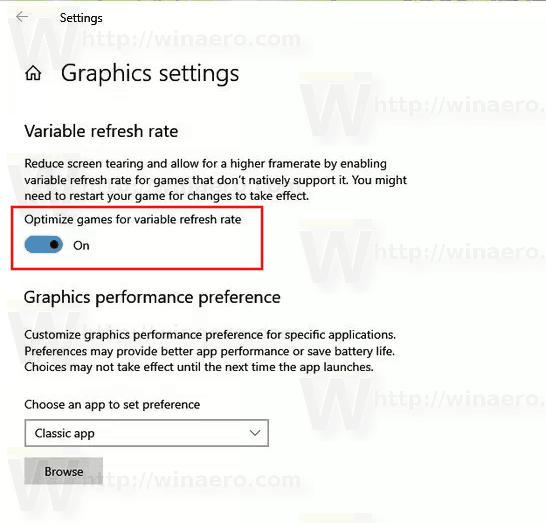 Enable Variable Refresh Rate in Windows 10