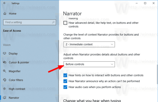 Windows 10 Narrator Context Reading Order