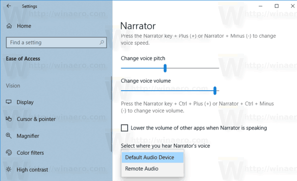Windows 10 Narrator Default Output Device