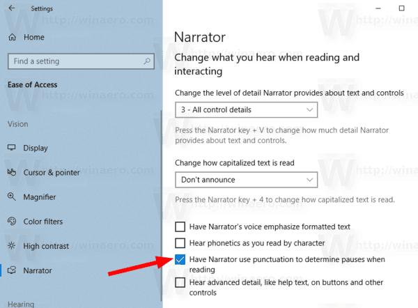 Windows 10 Narrator Intonation Pauses Settings