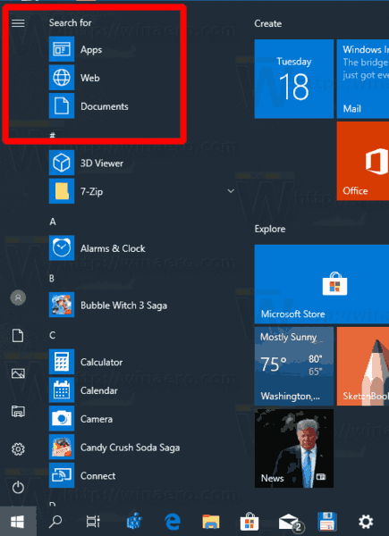 Windows 10 New Search Options