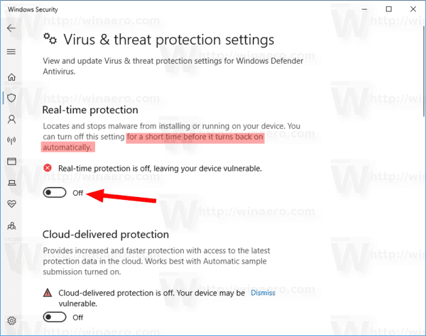 Disable Windows Defender in Windows 10 Version 1903